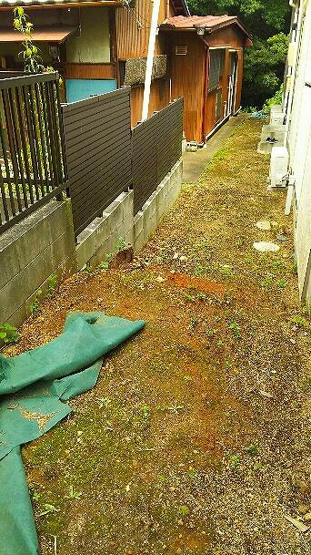 傾斜と土が露わなスタジオ横の空間